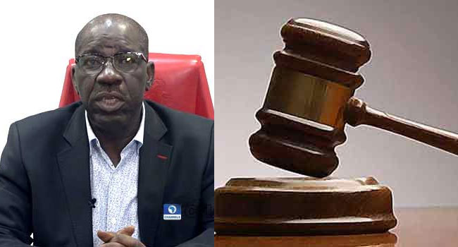 A photo combination of Edo State Governor, Godwin Obaseki and a court gavel.