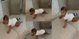 video of little baby doing Push-up