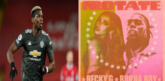 "Paul pogba drag burna Boy to have pepsi challenge on a song titled ""Rotate"" by Becky G ft Burna Boy"
